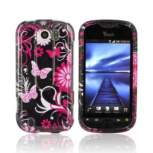 HTC Mytouch 4G Slide Hard Case - Pink Flowers & Butterflies on Black