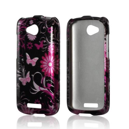 Pink Flowers & Butterflies on Black Hard Case for HTC One VX
