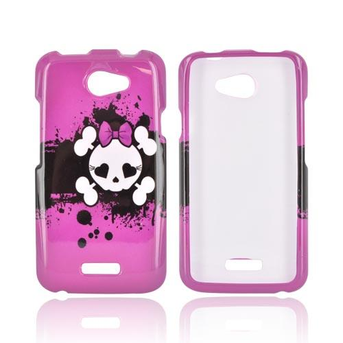 HTC One X Hard Case - White Skull w/ Bow on Hot Pink