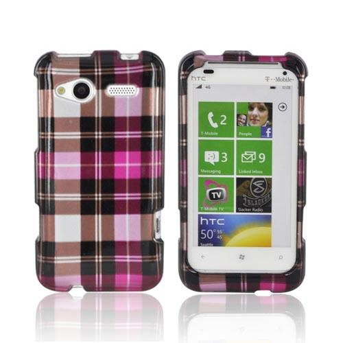HTC Radar 4G Hard Case - Plaid Pattern of Hot Pink, Pink, Brown, & Silver