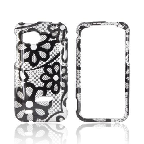 HTC Rezound Hard Case - Black Lace Flowers on Silver