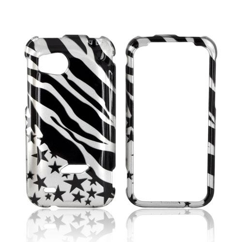 HTC Rezound Hard Case - Black Zebra & Stars on Silver