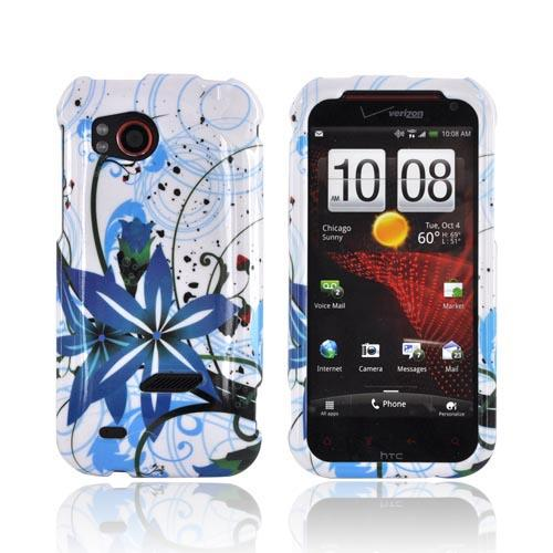 HTC Rezound Hard Case - Blue Flower Splash on White