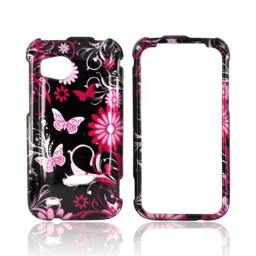 HTC Rezound Hard Case - Pink Flowers & Butterflies on Black