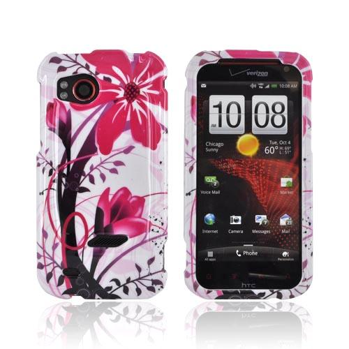 HTC Rezound Hard Case - Pink Flowers Splash on White