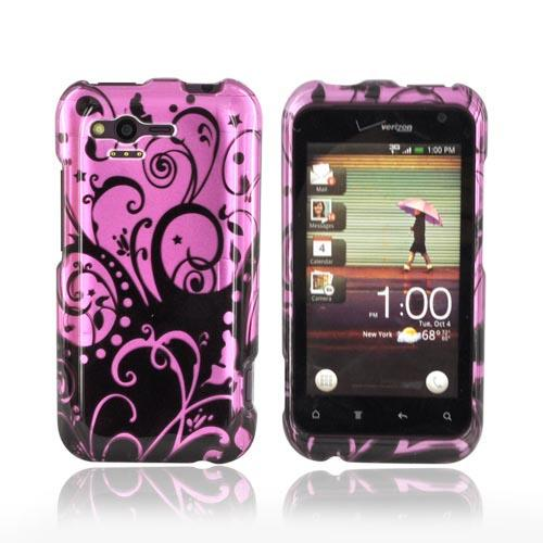HTC Rhyme Hard Case - Black Swirl Design on Purple