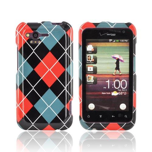 HTC Rhyme Hard Case - Red/ Black/ Gray Argyle