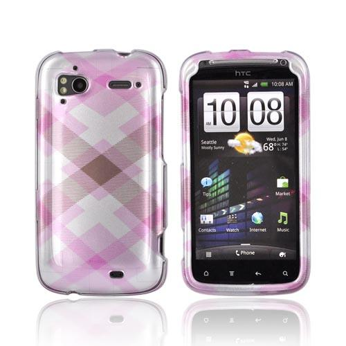HTC Sensation 4G Hard Case - Baby Pink Plaid on Silver
