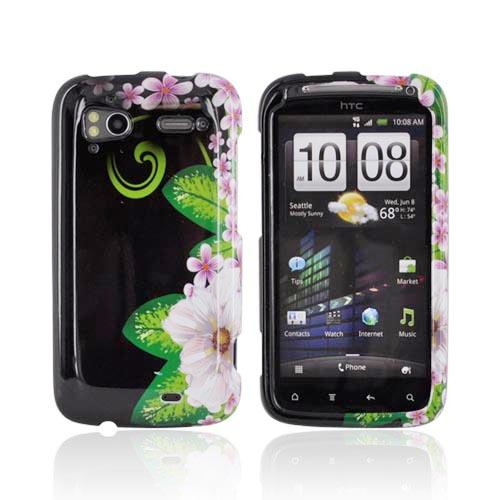 HTC Sensation 4G Hard Case - White/ Green Flower on Black