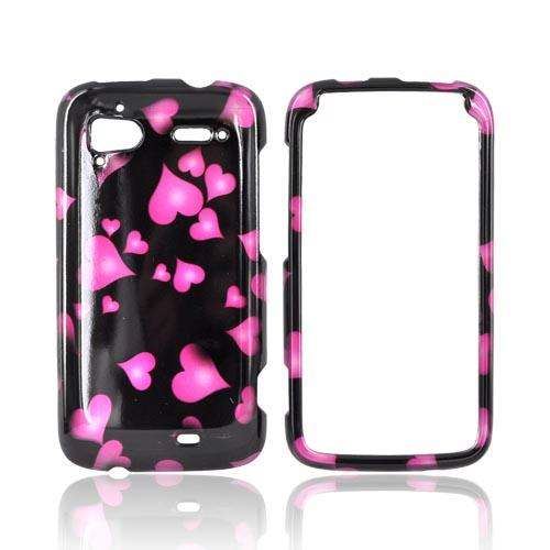 HTC Sensation 4G Hard Case - Pink Hearts on Black