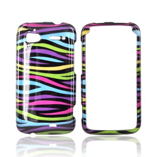 HTC Sensation 4G Hard Case - Rainbow Zebra on Black