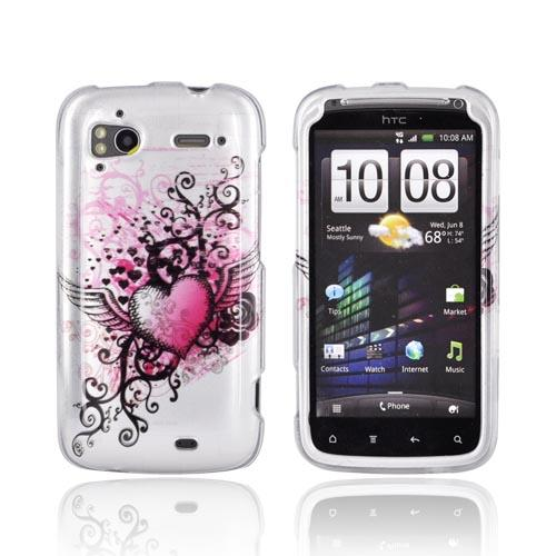 HTC Sensation 4G Hard Case - Pink Heart w/ Wings on Silver