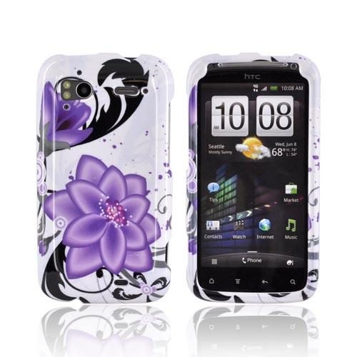HTC Sensation 4G Hard Case - Purple Lilly on White