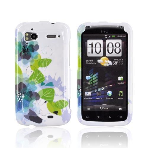 HTC Sensation 4G Hard Case - Blue/ Green Water Lilies on White