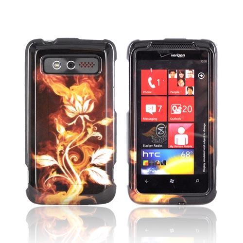 HTC Trophy Hard Case - Flaming Rose on Black