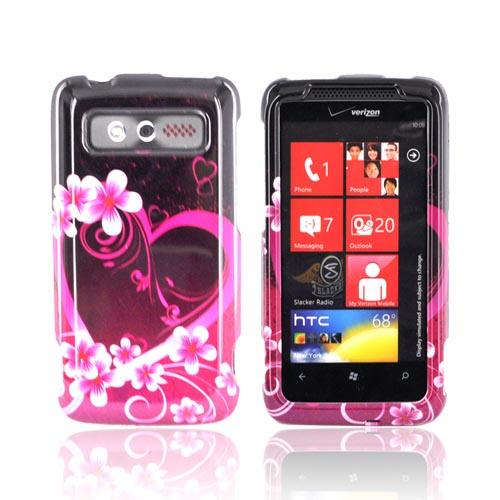 HTC Trophy Hard Case - Hot Pink/ Purple Flowers & Hearts