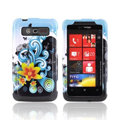 HTC Trophy Hard Case - Yellow Lilly & Swirls on Turquoise/Black