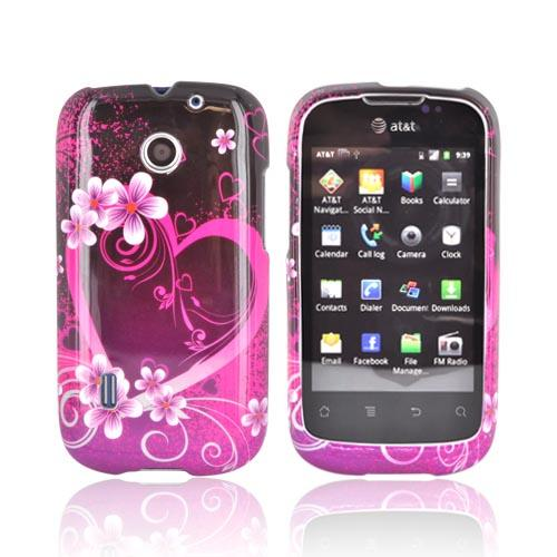 AT&T Fusion U8652 Hard Case - Hot Pink/ Purple Flowers & Heart