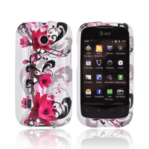 AT&T Fusion U8652 Hard Case - Pink Flower Splash on White