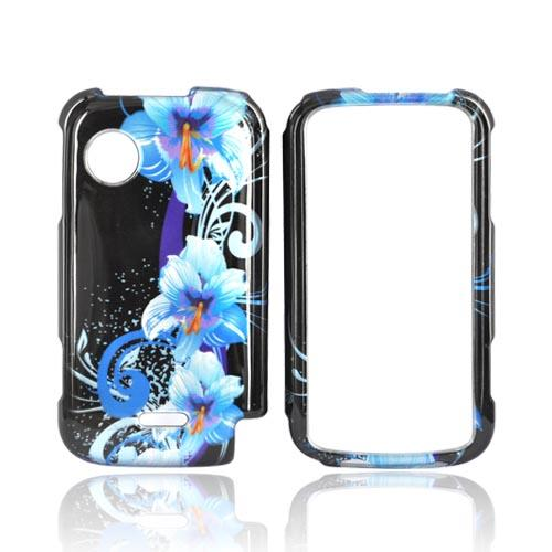 Huawei M735 Hard Case - Blue Flower on Black