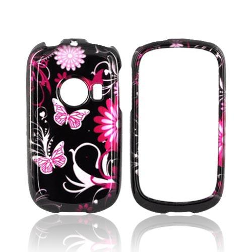 Huawei M835 Hard Case - Pink Flowers & Butterflies on Black