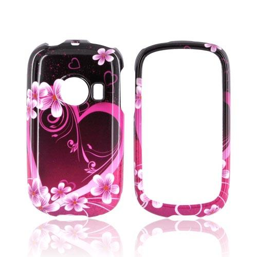 Huawei M835 Hard Case - Hot Pink/ Purple Flowers & Hearts