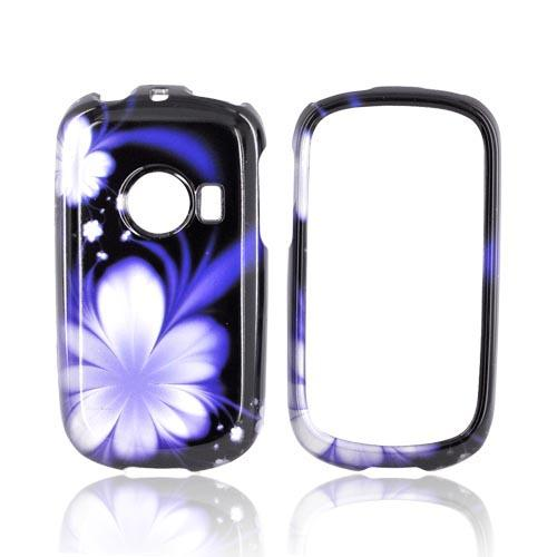 Huawei M835 Hard Case - Purple Flower on Black