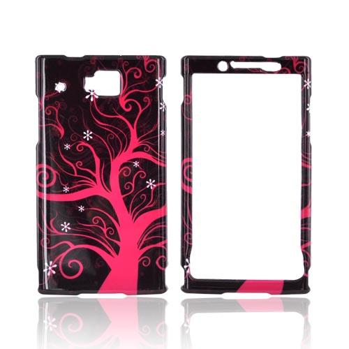 Huawei Ideos X6 Hard Case - Hot Pink Tree on Black