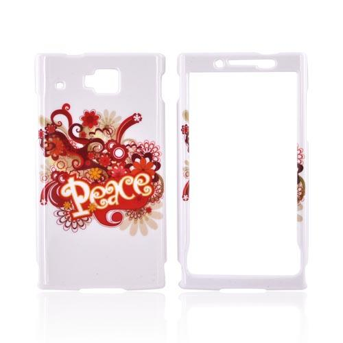 Huawei Ideos X6 Hard Case - Red/ Yellow Peace on White