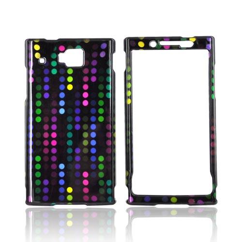 Huawei Ideos X6 Hard Case - Rainbow Dots on Black