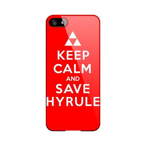 Red Save Hyrule Geeks Designer Line Keep Calm Series Slim Hard Case for Apple iPhone 5/5S