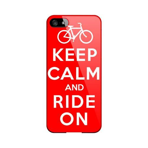 Red Ride On Geeks Designer Line Keep Calm Series Slim Hard Case for Apple iPhone 5/5S