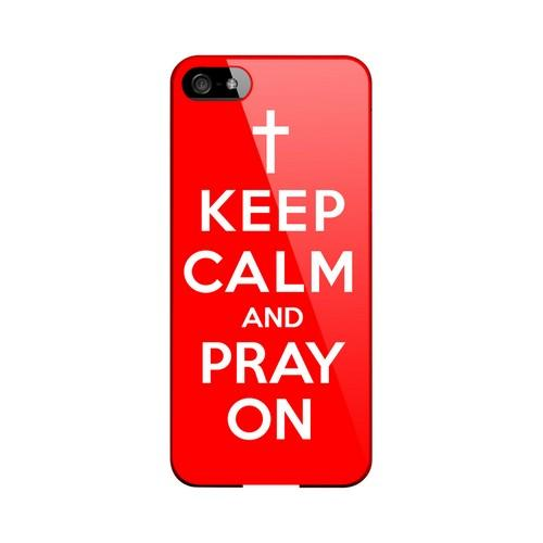 Red Pray On Geeks Designer Line Keep Calm Series Slim Hard Case for Apple iPhone 5/5S