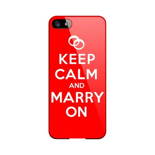 Red Marry On Geeks Designer Line Keep Calm Series Slim Hard Case for Apple iPhone 5/5S