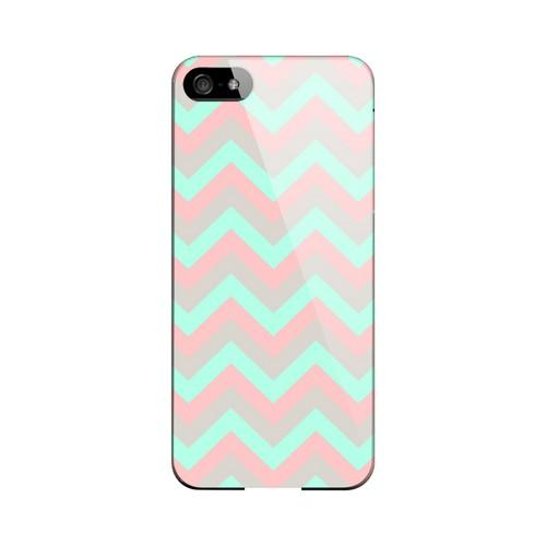 Green on Pink on Gray Geeks Designer Line Zig Zag Series Slim Hard Case for Apple iPhone 5/5S
