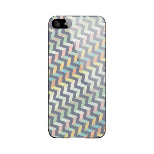 Grungy Pastel Steps Geeks Designer Line Zig Zag Series Slim Hard Case for Apple iPhone 5/5S