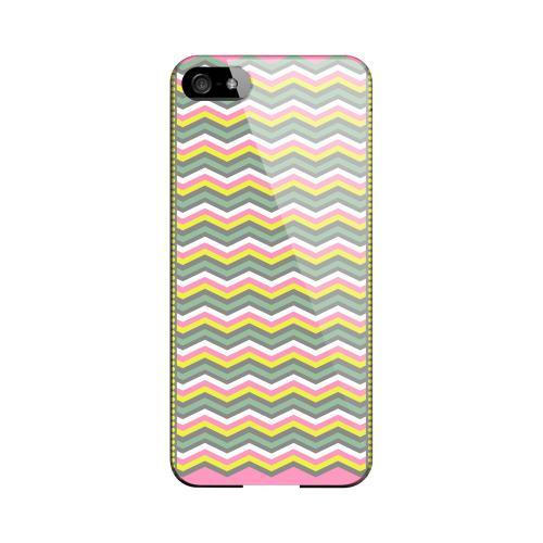 Green/ Yellow Dots w/ Pink & Gray Geeks Designer Line Zig Zag Series Slim Hard Case for Apple iPhone 5/5S