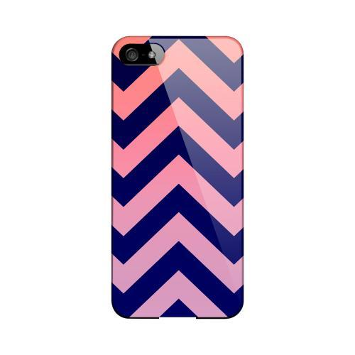 Pink/ Navy Blue Gradient Geeks Designer Line Zig Zag Series Slim Hard Case for Apple iPhone 5/5S