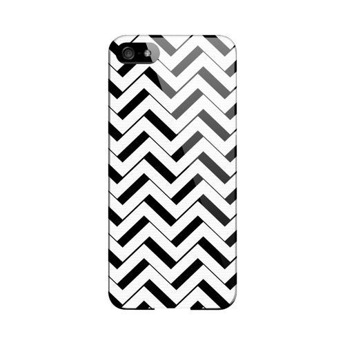 Black/ White 3D Geeks Designer Line Zig Zag Series Slim Hard Case for Apple iPhone 5/5S