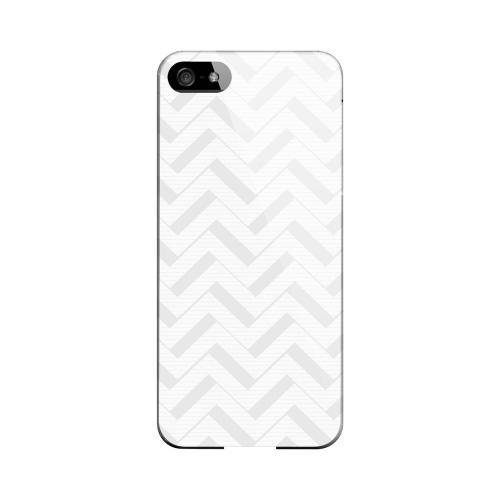 Light Gray/ White 3D Geeks Designer Line Zig Zag Series Slim Hard Case for Apple iPhone 5/5S