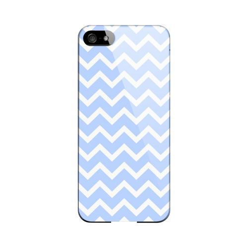 White on Light Blue Geeks Designer Line Zig Zag Series Slim Hard Case for Apple iPhone 5/5S