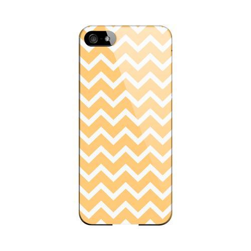 White on Light Orange Geeks Designer Line Zig Zag Series Slim Hard Case for Apple iPhone 5/5S