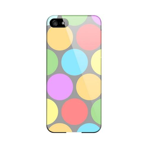 Big & Rainbow on Gray Geeks Designer Line Polka Dot Series Slim Hard Case for Apple iPhone 5/5S