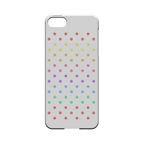 Rainbow Dots on White Geeks Designer Line Polka Dot Series Slim Hard Case for Apple iPhone 5/5S