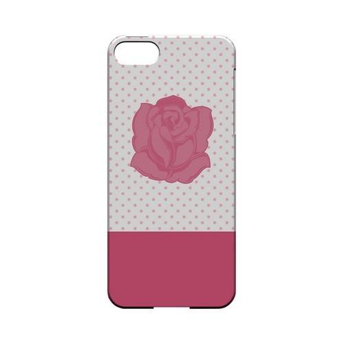 Pink Rose on White Geeks Designer Line Polka Dot Series Slim Hard Case for Apple iPhone 5/5S