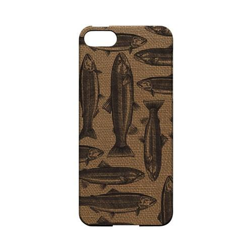 Vintage Salmon & Trout on Burlap - Geeks Designer Line (GDL) Fish Series Hard Back Cover for Apple iPhone 5/5S