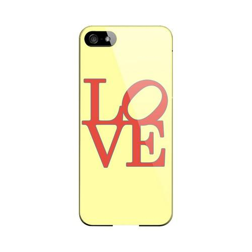 Red Love on Yellow Geeks Designer Line Heart Series Slim Hard Case for Apple iPhone 5/5S