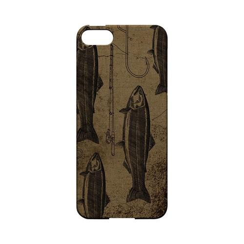 Vintage Salmon/Hook/Pole Print - Geeks Designer Line (GDL) Fish Series Hard Back Cover for Apple iPhone 5/5S