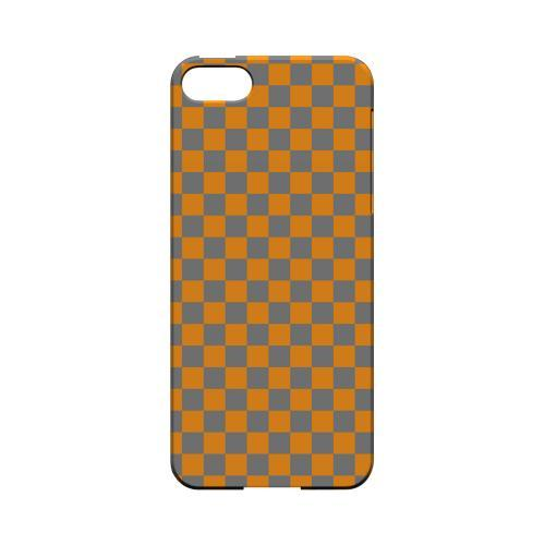Orange/ Gray - Geeks Designer Line Checker Series Hard Case for Apple iPhone 5/5S
