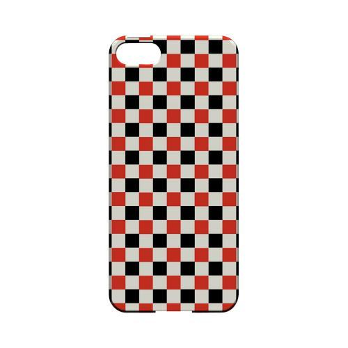 Red/ Black on Cream - Geeks Designer Line Checker Series Hard Case for Apple iPhone 5/5S